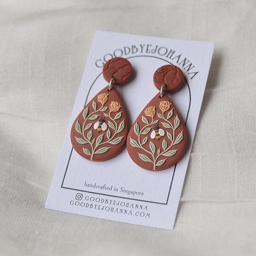 Bee Friends Teardrop Earrings (Mahogany Brown with Orange Roses)
