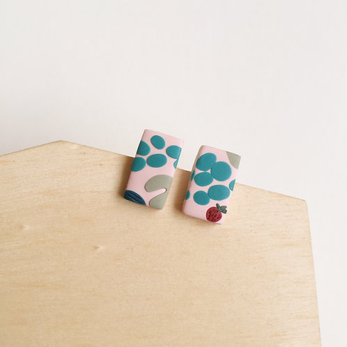 """""""Berry"""" Polymer Clay Studs Stainless Steel"""