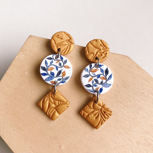 Polymer Clay Dangly Earrings Stainless Steel Gold