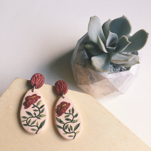 """Nicole"" Polymer Clay Floral Earrings Stainless Steel 4cm"