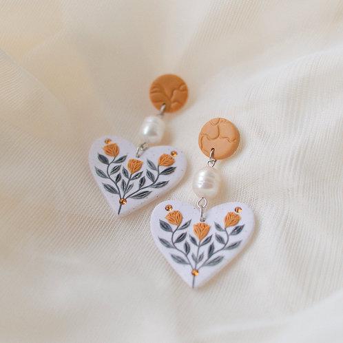 Pearl & Floral Heart Earrings (Yellow)