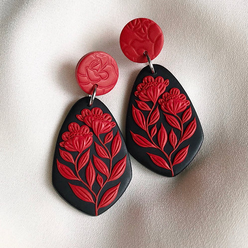 Polymer Clay Dangly Earrings: Contrast Signature Floral