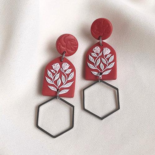 Polymer Clay Dangly Earrings: Terracotta Rose