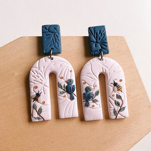 """The Birds & the Bees"" Polymer Clay Earrings"