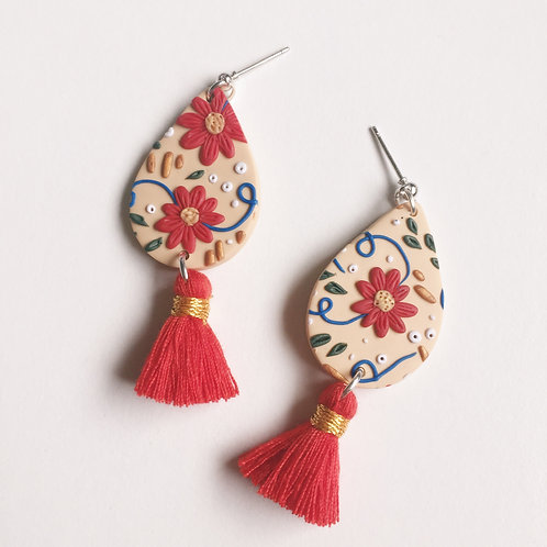 """Emily"" Polymer Clay Dangle Tassel Earrings"