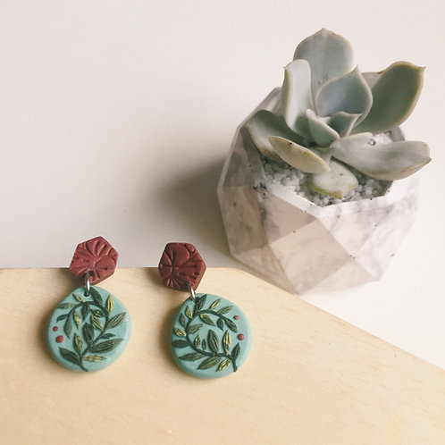 """""""Mathilde"""" Polymer Clay Floral Geometric Earrings Stainless Steel 3cm"""