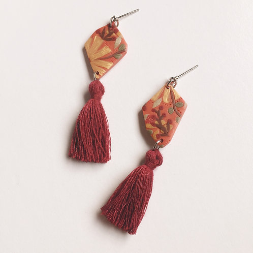 """Ainsley"" Polymer Clay Asymmetrical Dangly Earrings"