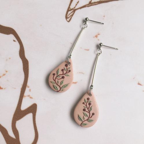 Polymer Clay Teardrop Dangly Drop Earrings