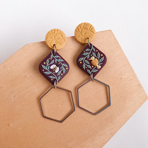 """""""The Birds &the Bees"""" Polymer Clay Earrings"""