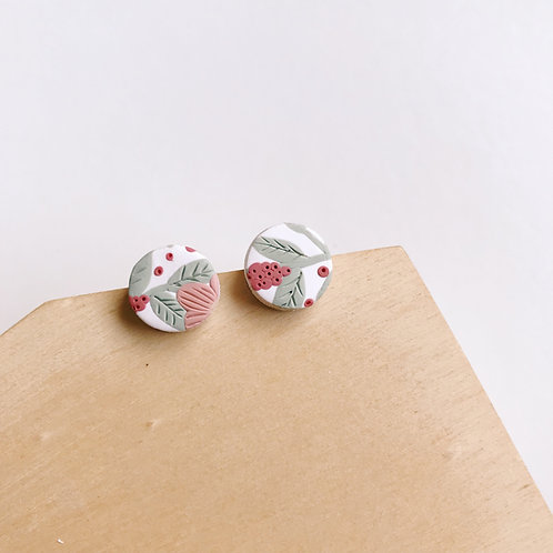Polymer Clay Circle Studs Stainless Steel 1.2cm