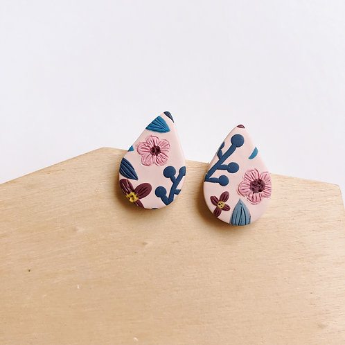 Polymer Clay Stud Earrings Stainless Steel