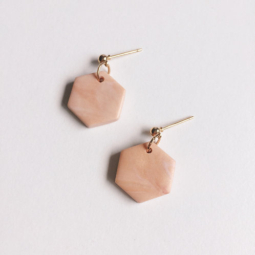 Polymer Clay Marbled Hexagon Earrings