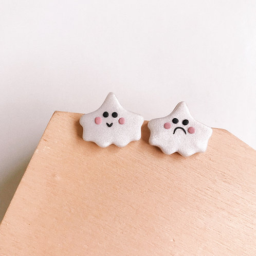 Halloween Ghost Studs #1 Polymer Clay