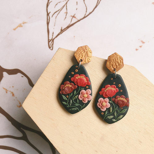 """""""Freda"""" Polymer Clay Stainless Steel Dangly Earrings"""