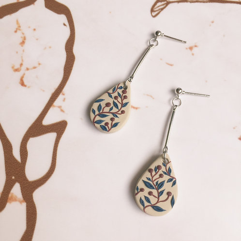 """Charlotte"" Small Polymer Clay Teardrop #1 Dangle Earrings"