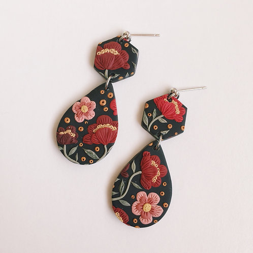 """Freda"" Polymer Clay Stainless Steel Dangly Teardrop Hexagon Earrings"