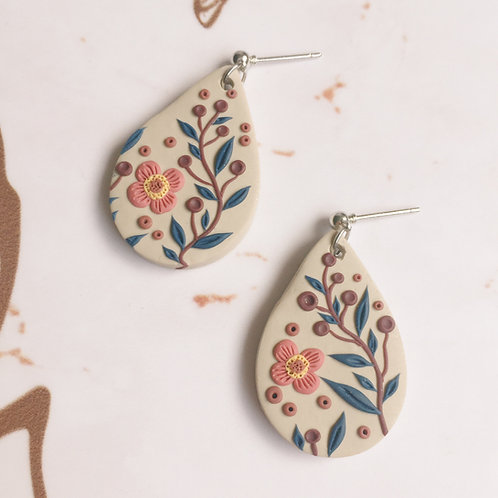 Polymer Clay Teardrop Dangly Earrings