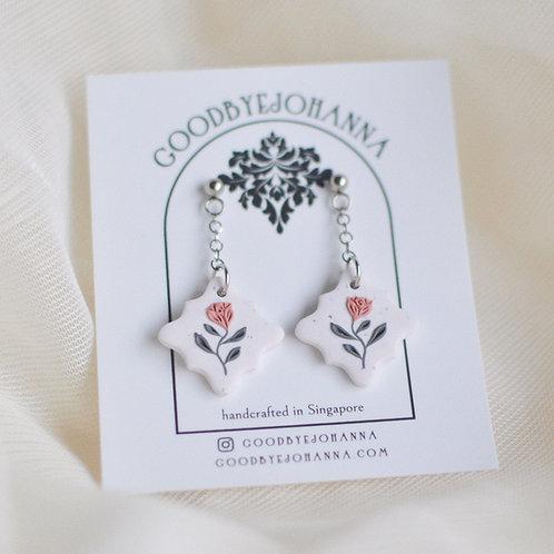 PREORDER Pink Floral Dangly Earrings Stainless Steel