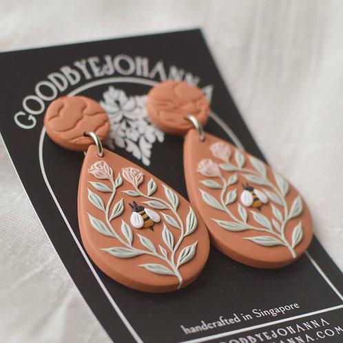 Bee Friends Teardrop Earrings (Orange with Pink Roses)