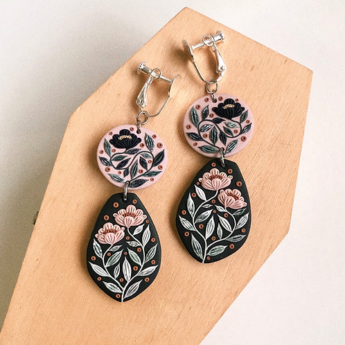 Polymer Clay Dangly Earrings 7cm clip-on