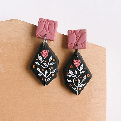 Polymer Clay Dangly Earrings Stainless Steel 6
