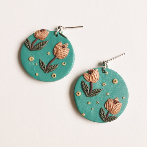 """Tilde"" Polymer Clay Circle Earrings"