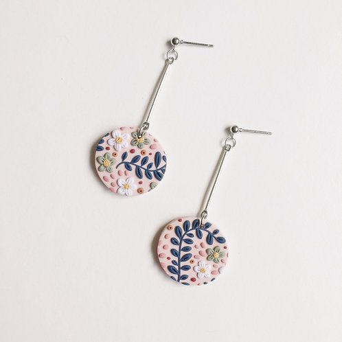 """Soph"" Polymer Clay Round Drops Dangly Earrings"