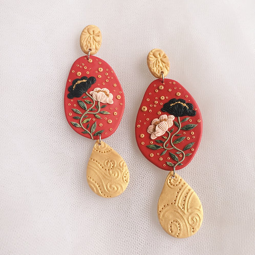 Polymer Clay Dangly Earrings Stainless Steel Red & Gold 6.4cm
