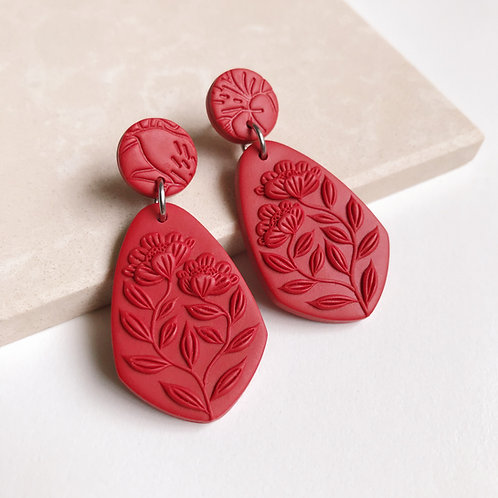 Red Polymer Clay Dangly Earrings Stainless Steel 4.7cm