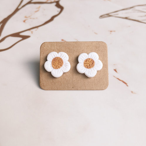 Polymer Clay Flower Studs Stainless Steel (Glitter White)
