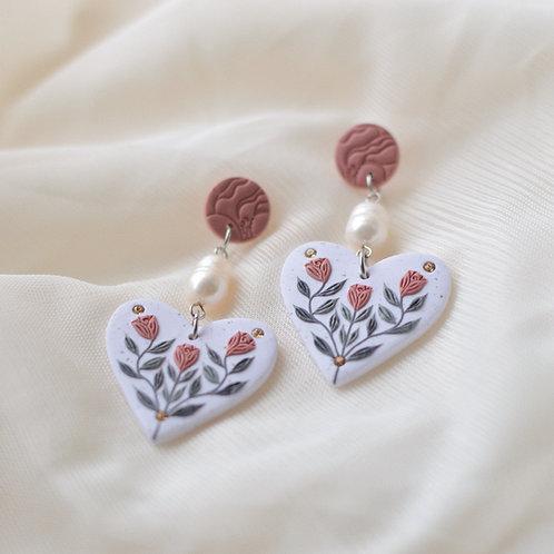 Pearl & Floral Heart Earrings (Pink & Light Topaz)