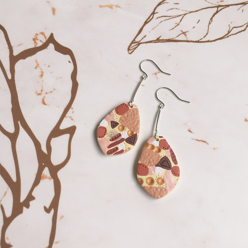 Polymer Clay Abstract Dangly Earrings Stainless Steel