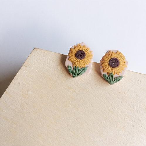 Polymer Clay Irregular Sunflower Studs Stainless Steel