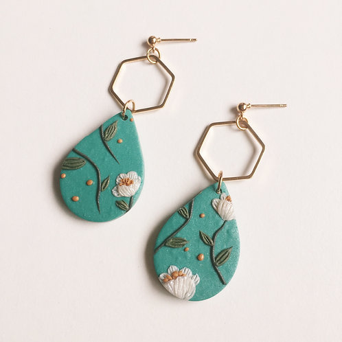 """Tallulah"" Polymer Clay Dangly Earrings Hexagon"