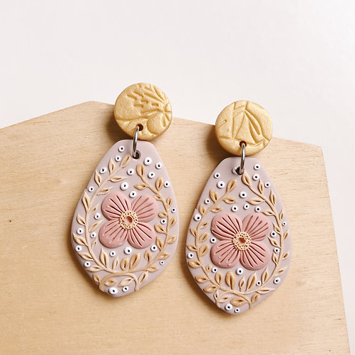 """""""Jenna"""" Polymer Clay Dangly Earrings Stainless Steel"""