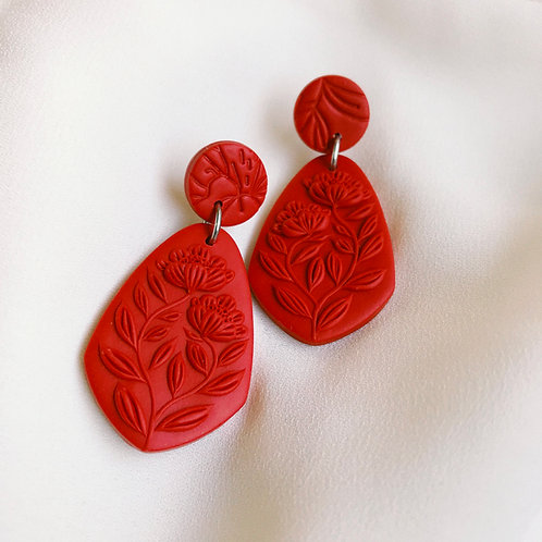 Red Monochrome Dangly Earrings Stainless Steel
