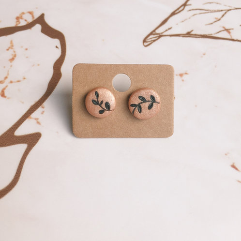Polymer Clay Rose Gold Studs Stainless Steel