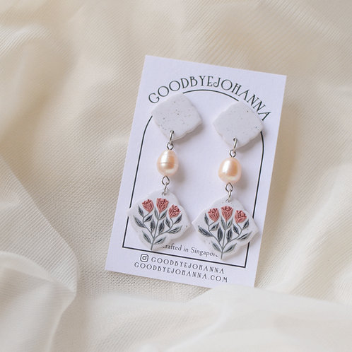 Pearl & Floral Heart Earrings (Pink)
