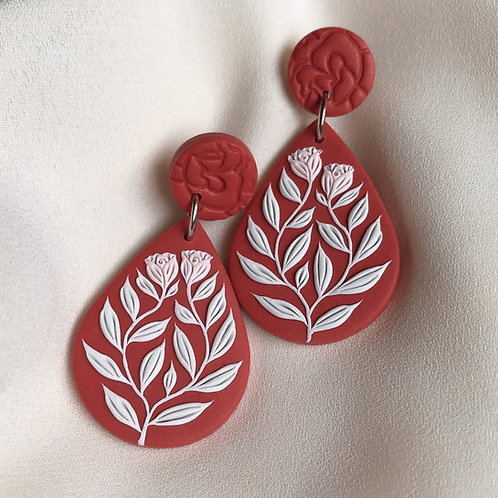 Teardrop Dangly Earrings: Terracotta Rose