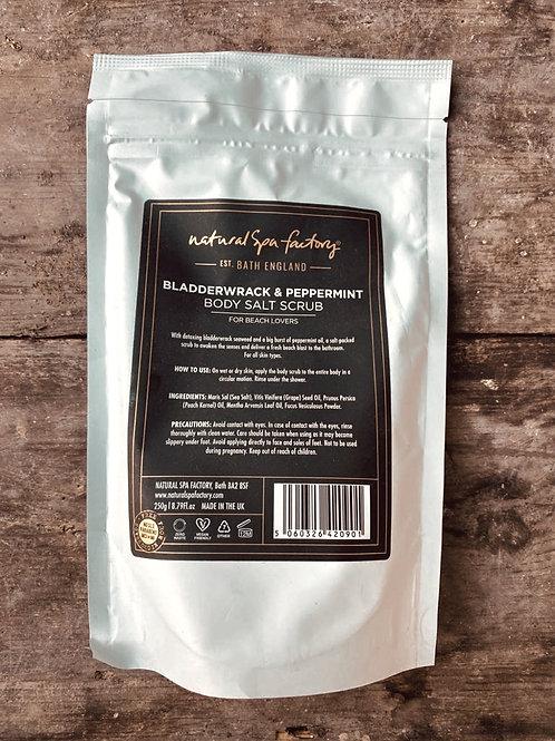 NATURAL SPA FACTORY BLADDERWRACK & PEPPERMINT SALT BODY SCRUB - STIMULATING -VEG