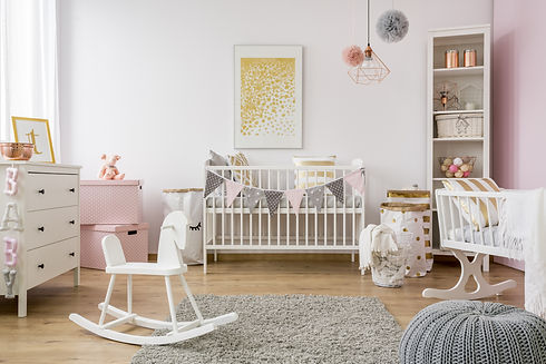 Baby room in scandinavian style with roc