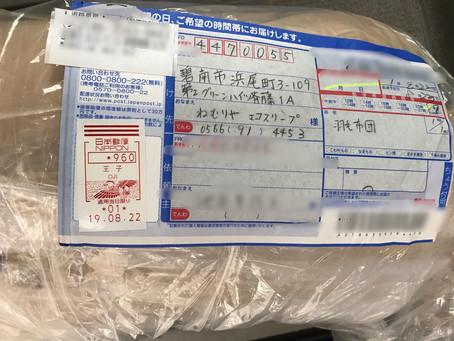 東京都より8/29羽毛ふとんの寄付が届きました