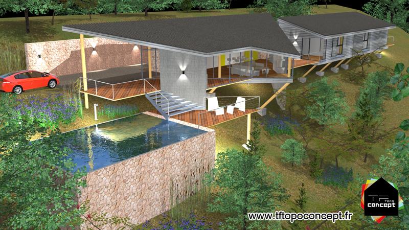 Maison architecte sur pilotis