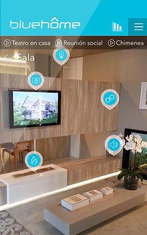 Esquema explicativo del funcionamiento de la interfaz de Blue Home, para la automatización y control de espacios residenciales y casas inteigentes.