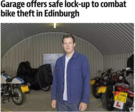 Garage offers safe lock-up to combat bike theft in Edinburgh