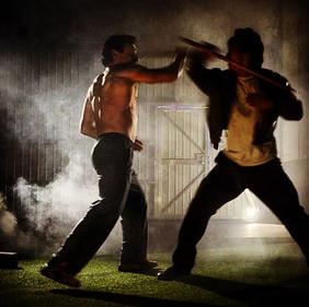 Zak on set fight scene