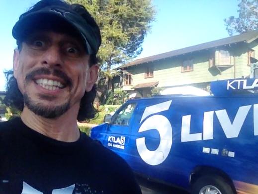 Zak selfie at 24hr non-stop stair climbing in Santa Monica California.