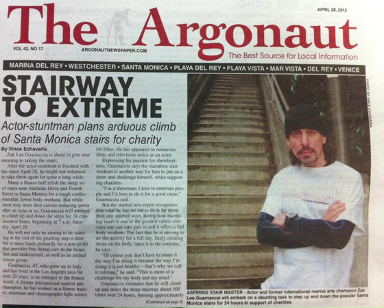 STAIRWAY TO EXTREME           Actor-stuntman plans arduous climb of Santa Monica stairs for charity