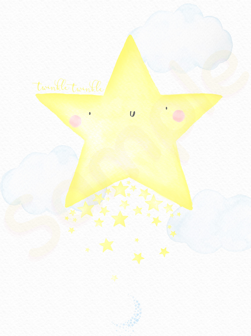 Downloadable Yellow Star Nursery Print