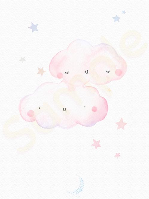 Downloadable Pink Clouds Nursery Print